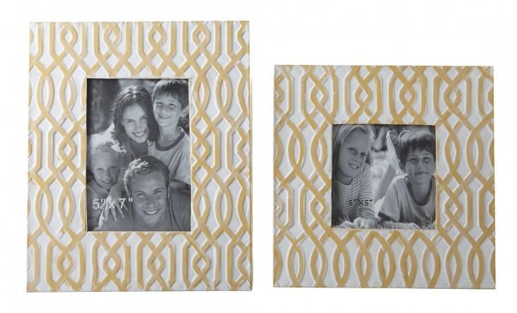 Baina Yellow and White Photo Frame Set of 2