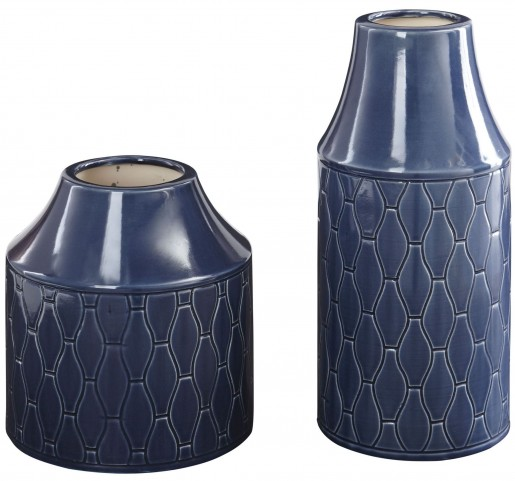 Caimbrie Navy Glazed Ceramic Vase Set of 2