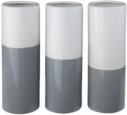 Dalal Matte White And Gray Glazed Ceramic Vase Set of 3
