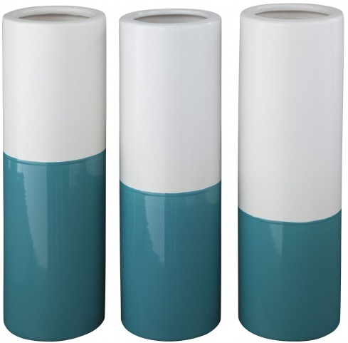 Dalal Matte Teal And White Glazed Ceramic Vase Set of 3