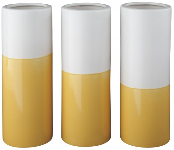 Dalal Matte Yellow And White Glazed Ceramic Vase Set of 3