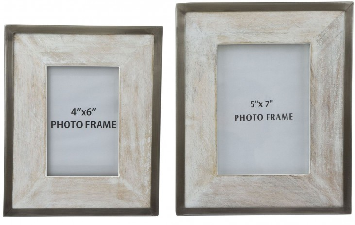 Kadija White Wash and Silver Finish Photo Frame Set of 2