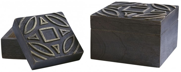 Marquise Antique Rubbed Black Box Set of 2