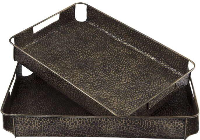 Kale Antique Bronze Finish Tray Set of 2