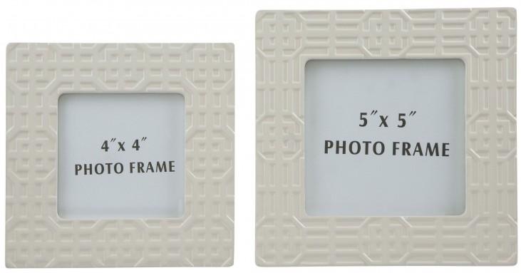 Kael Cream Glazed Ceramic Photo Frame Set of 2
