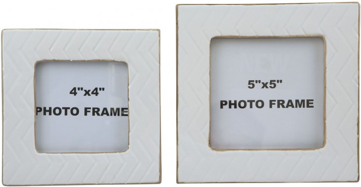 Kaelem Antique White Glazed Ceramic Photo Frame Set of 2