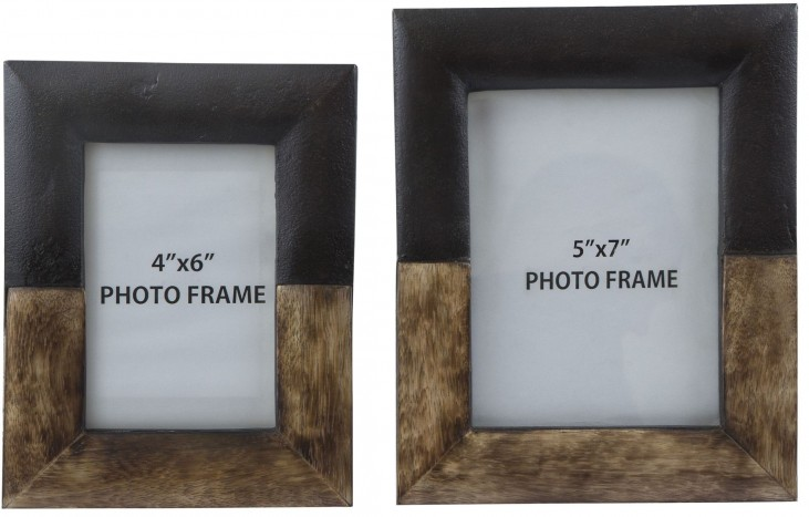 Michi Bronze and Wood Photo Frame Set of 2