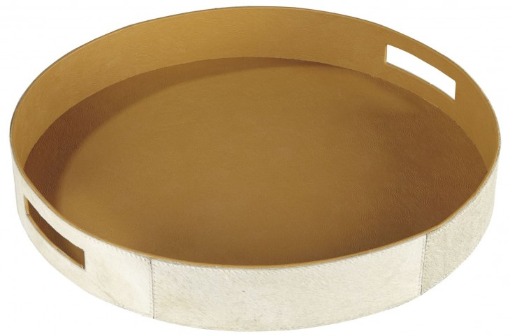 Odeda Beige Round Tray Set of 2