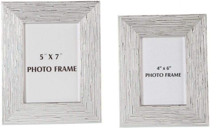 Devaki White and Silver Photo Frame Set of 2