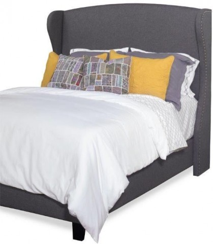 Whitney Charcoal Gray Queen Upholstered Winged Bed