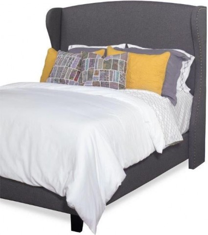 Whitney Charcoal Gray King Upholstered Winged Bed