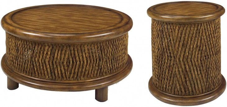 Turk Tea Round Woven Occasional Table Set