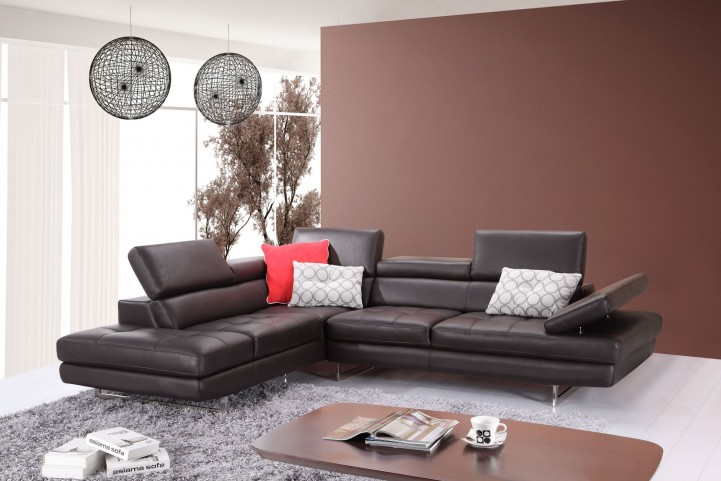 A761 Slate Coffee Italian Leather LAF Sectional