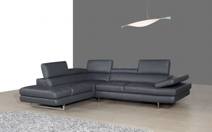 A761 Slate Grey Italian Leather LAF Sectional