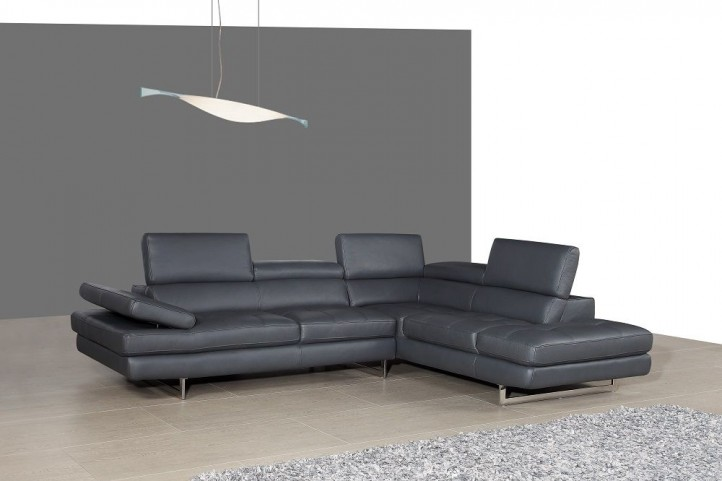 A761 Slate Grey Italian Leather RAF Sectional
