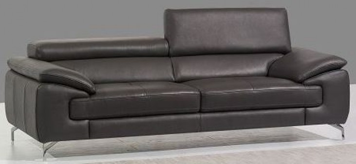 A973 Grey Italian Leather Sofa