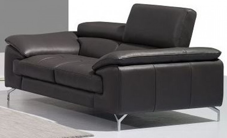 A973 Grey Italian Leather Loveseat