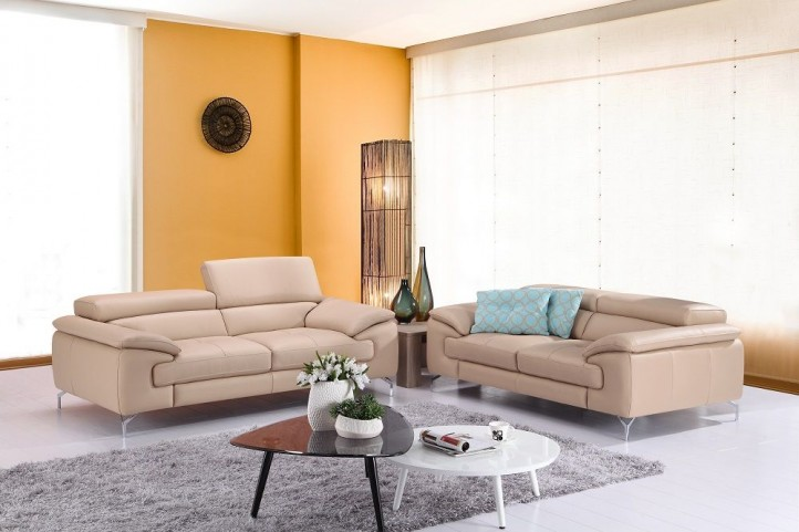 A973 Peanut Italian Leather Living Room Set