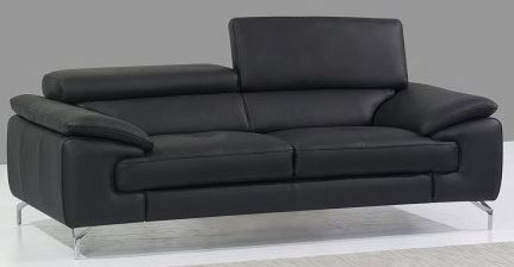 A973 Black Italian Leather Loveseat