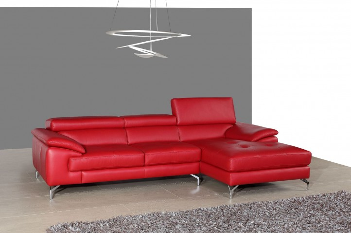A973B Red Italian Leather Mini RAF Chaise Sectional