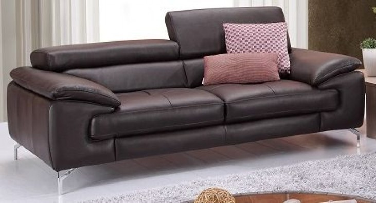 A973 Coffee Italian Leather Loveseat