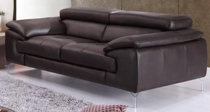 A973 Coffee Italian Leather Sofa