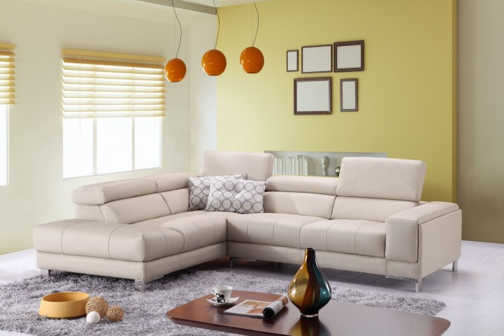 A990 Italian Leather LAF Chaise Sectional