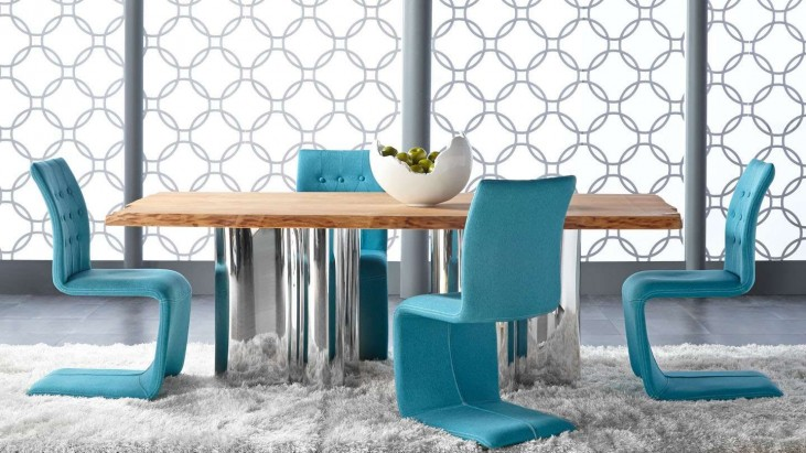 Xena Absolute Natural Rectangular Dining Room Set with Regis Forma Turquoise Dining Chairs