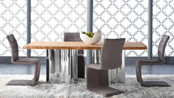 Xena Absolute Natural Rectangular Dining Room Set with Regis Forma Gray Dining Chair