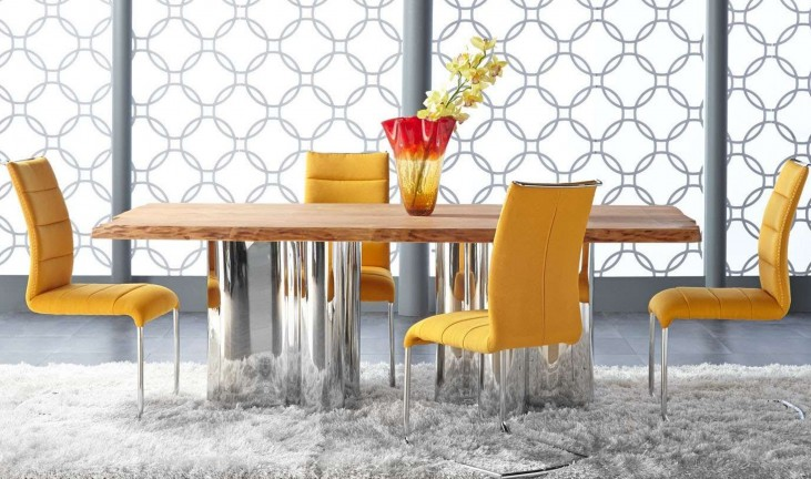 Xena Absolute Natural Rectangular Dining Room Set with Regis Lido Yellow Dining Chairs