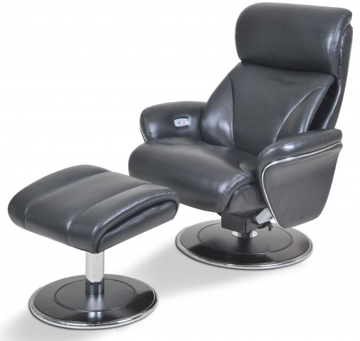 Ergonomic Leather Slate Reclining Chair & Ottoman