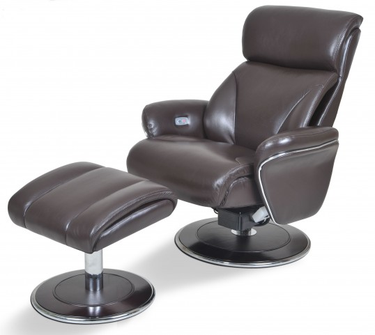 Ergonomic Leather Espresso Reclining Chair & Ottoman