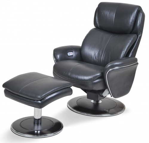 Ergonomic Leather Slate Chair & Ottoman