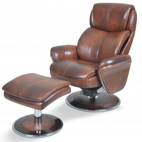 Ergonomic Leather Saddle Chair & Ottoman
