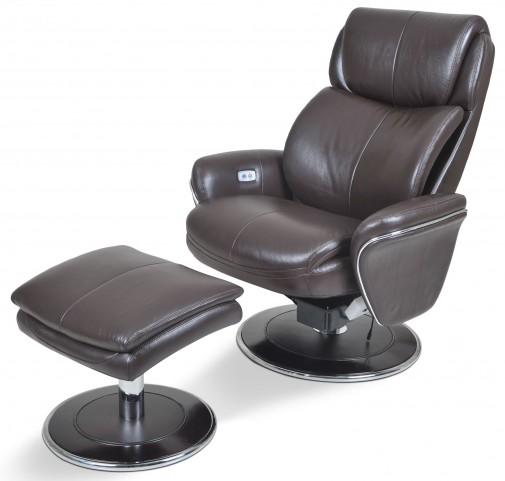 Ergonomic Leather Espresso Chair & Ottoman