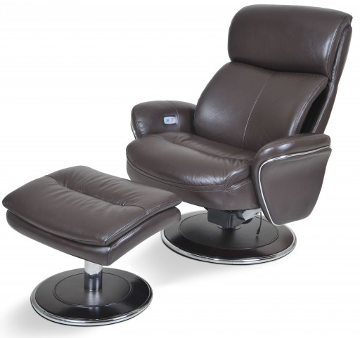 Big Man Ergonomic Leather Espresso Chair & Ottoman