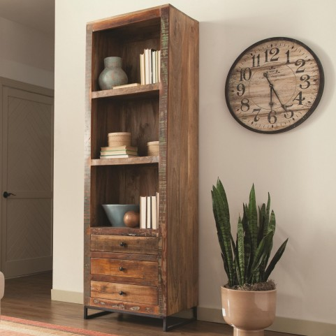 800819 Reclaimed Wood Tall Open Bookcase