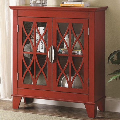 950312 Glass Doors Red Accent Cabinet