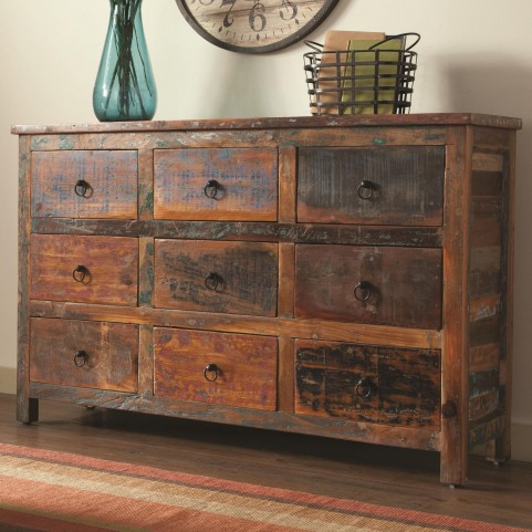 950365 9 Drawer Rustic Accent Cabinet