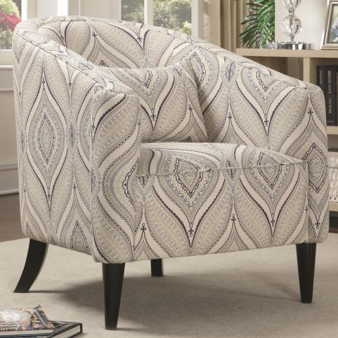Claxton Multi-Color Printed Linen Accent Chair