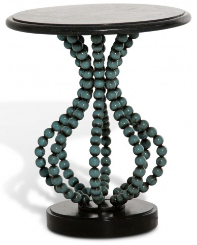 Discoveries Beaded Leg Round Accent Table
