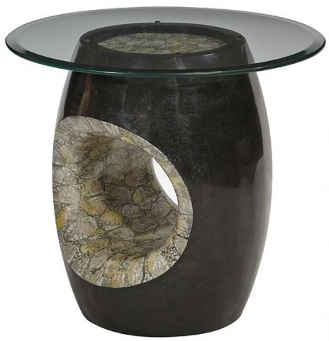 Discoveries Round Beveled Glass Accent Table