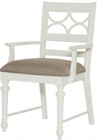Lynn Haven Soft Dover White Fretwork Arm Chair