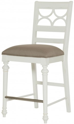 Lynn Haven Soft Dover White Fret Work Counter Stool