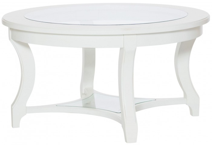 Lynn Haven Soft Dover White Round Glass Cocktail Table
