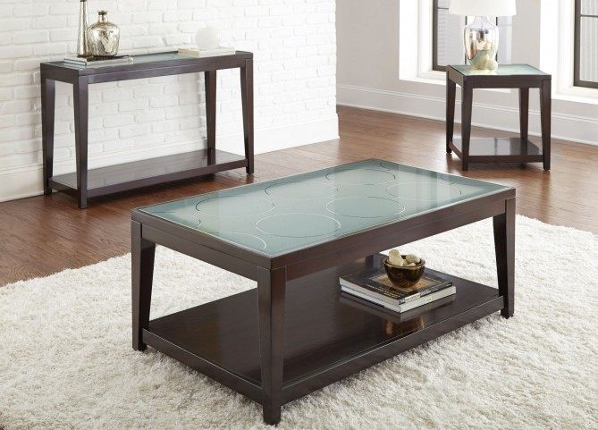 Arden Sandblasted Glass Occasional Table Set