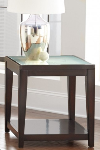 Arden Sandblasted Glass End Table