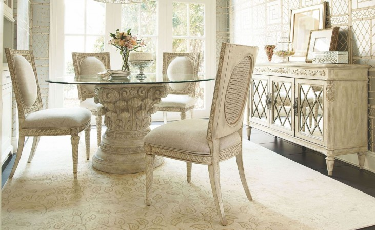 Jessica Mcclintock Boutique White Veil Round Dining Room Set