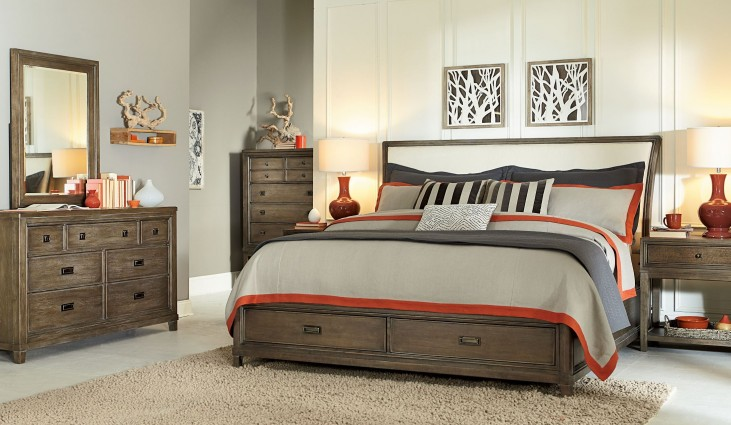 Park Studio Weathered Taupe Sleigh Storage Bedroom Set