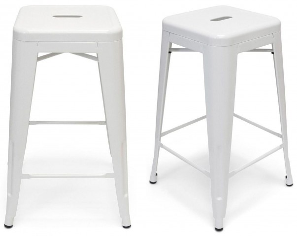 Classic Cafe Galaxy White Counter Stool Set of 2